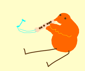 Bird plays recorder