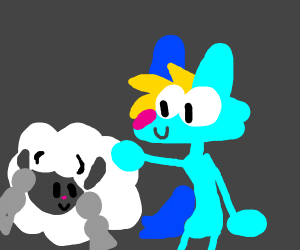 Blonde Blue Wolf, and Woolloo from Pokemon