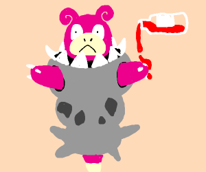 A Slowbro and a ketchup bottle