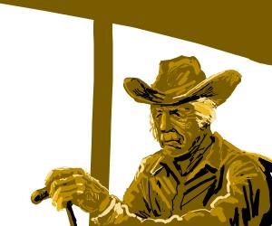 Elderly cowboy w/ cane.