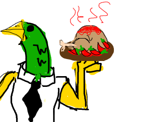Waiter duck serves rotisserie chicken w/spice