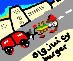 Car running over man and burger