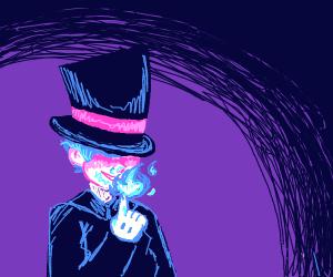 magic man makes cool flame (magician)