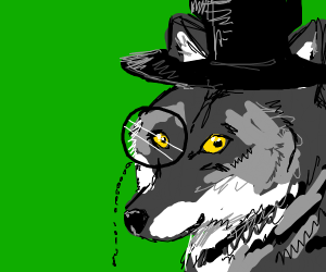dapper wolf man with a monocle