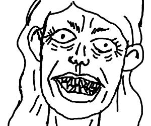 creepy old lady with crooked teeth