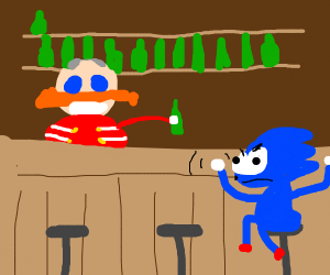 Sonic is desperate for a beer