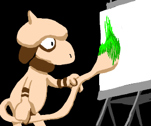 smeargle painting with its tail