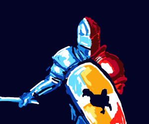 A knight with a red chicken on his shield