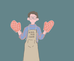 Man with glasses wears kitchen gloves.