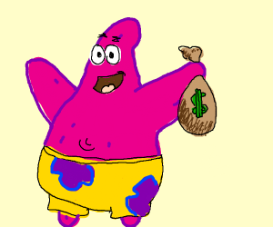 Patrick holding a bag of money