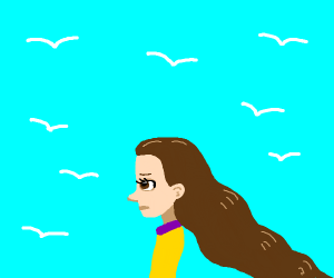 Girl w/ super long hair, in front of seaguls