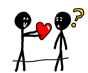 Happy stickman gives heart to confused st.man