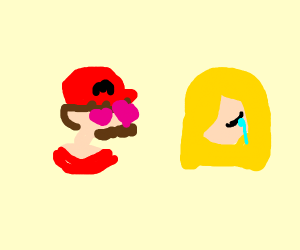 Mario is in love with sad princess Peach