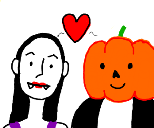 vampire and pumpkin headed person in love