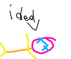 "a neon dude saying ""i ded"""