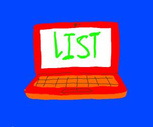 List on a laptop screen