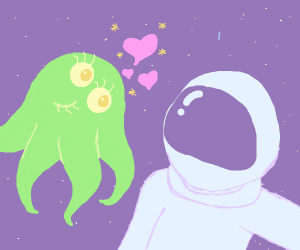 monster tries to seduce a' astronaut