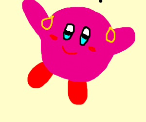 Kirby with earings and light blue eyes