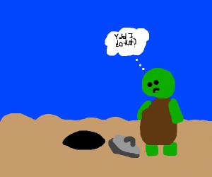 Turtle pulls plug on ocean. Immanent regret.