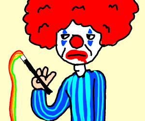 A clown doing magic tricks