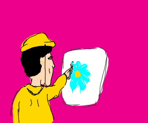 Girl painting a flower