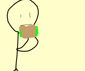 Guy with sandwich (maybe from a video game?)