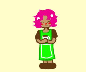 Pink-haired waiter bringing someone coffee