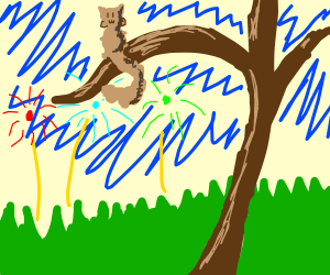 goofy fireworks and a squirrel on a branch