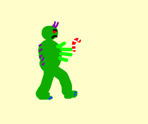 Monster running with Candy