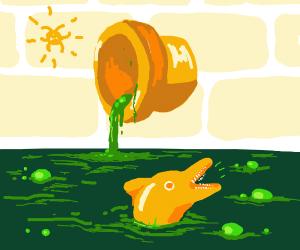 Dolphin in toxic sludge