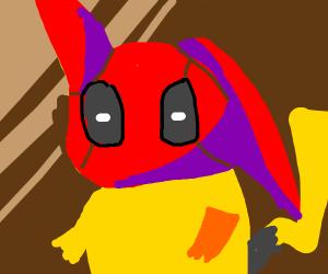 Pikachu with deadpool's face