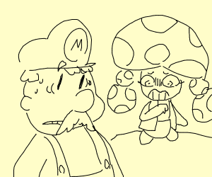 mario and shocked toadette