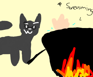 a magical cat burning a person in a cauldron