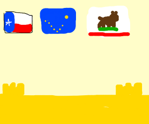 Texas, Alaska and California out at the beach