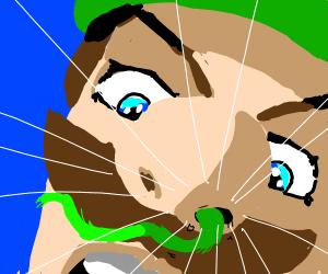 Snake climbs up Luigis nose