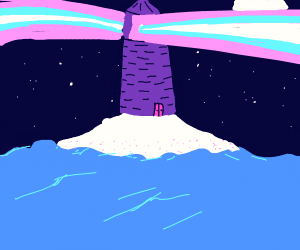 A Lonely Lighthouse in the Sea
