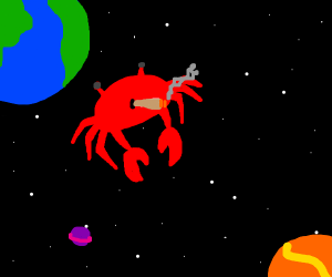 A crab smoking in space