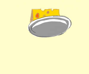 A flying plate with cheese on it