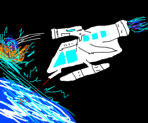 Spaceship shooting at Forcefield