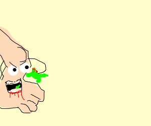 dino eating leg