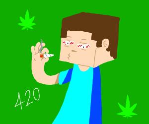 Minecraft Steve takes a 420 break