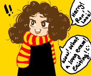 Hermione is excited by long test