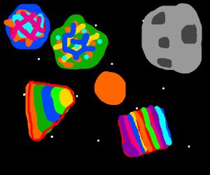 psychedelic shapes in space