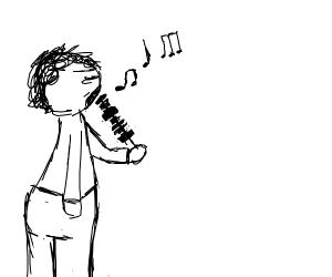 guy eating a shish kabob and singing