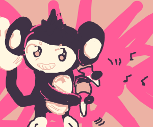 Aipom (pokemon) playing the maracas