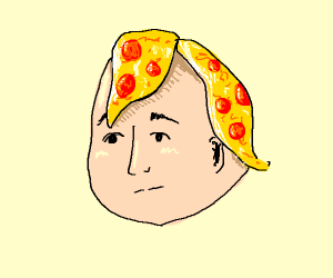 man with crustless pizza for hair
