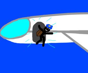 Pilot escaping plane