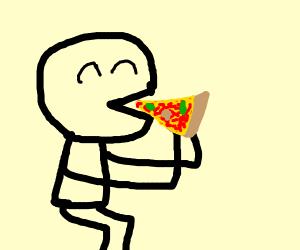 Man enjoys pizza