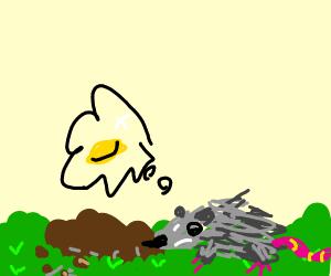 Opossum looking for treasure