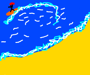 man with red hair surfing